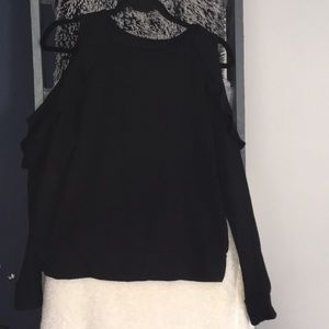 New York & Co Black Cold Shoulder Sweater